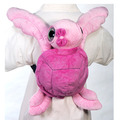 "Fiesta Stuffed Pink Big Eye Turtle Backpack 15"""
