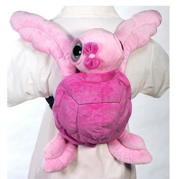 "Fiesta Stuffed Pink Big Eye Turtle Backpack 15"" picture"