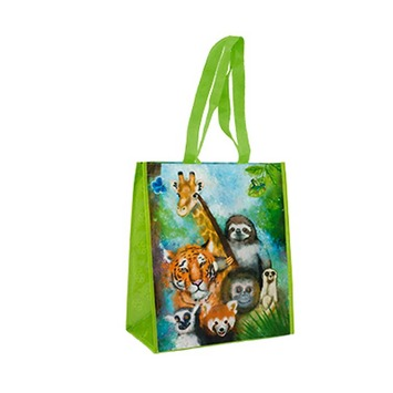 Zoo Scene Recycled Watercolor Tote Bag picture