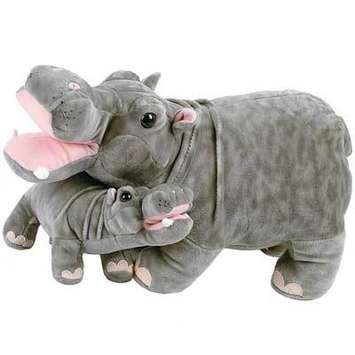 """18"""" Stuffed Hippopotamus and baby picture"""