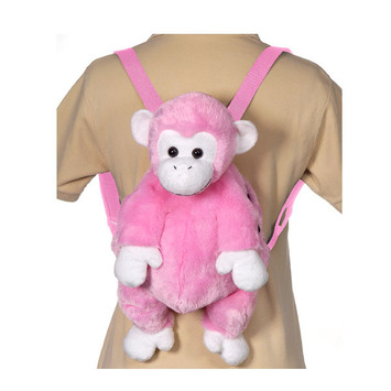 "16"" Pink Monkey Backpack picture"
