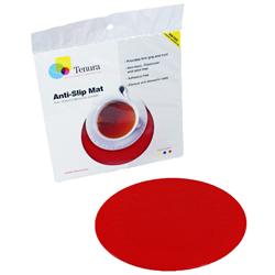 """Tenura Silicone Non-Slip Round Coaster - Red,  5 1/2"""" (14 cm) Diameter picture"""
