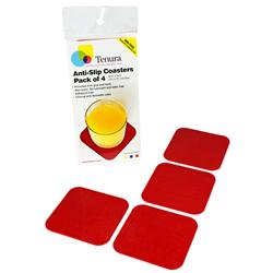"""Tenura Silicone Non-Slip Square Coaster - Red,  3 1/2 x 3 1/2"""" (8.9 x 8.9 cm), Pack of 4 picture"""