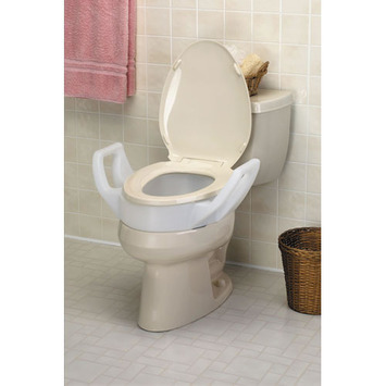 "Elevated Toilet Seat with Arms - 3 1/2"" - Elongated picture"