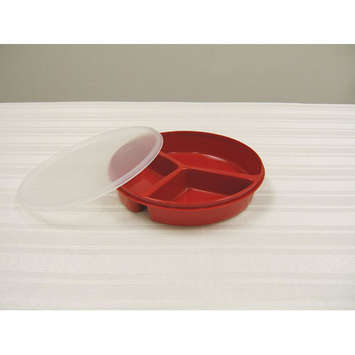 Partitioned Scoop Dish with Lid - Red picture