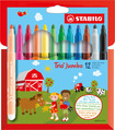 STABILO Trio Jumbo extra-thick fibre-tip pen cardboard wallet of 12 colours