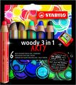 STABILO woody 3 in 1 wallet of 6 colours with sharpener - ARTY version