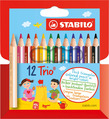 STABILO Trio thick short triangular coloured pencil cardboard wallet of 12 colours