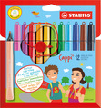 STABILO Cappi fibre-tip pen with cap-ring cardboard wallet of 12 colours