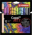 STABILO Cappi fibre-tip pen with cap-ring cardboard wallet of 12 colours - ARTY version
