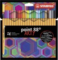 STABILO point 88 fineliner - cardboard wallet of 24 asst colours - ARTY version
