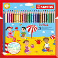 STABILO Trio thick triangular coloured pencil cardboard wallet of 24 colours