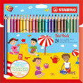 STABILO Trio thick triangular coloured pencil cardboard wallet of 24 colours with sharpener