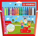 STABILO Trio A-Z fibre-tip pen with triangular grip zone cardboard wallet of 15 colours plus 3 neon