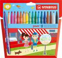 STABILO power fibre-tip pen cardboard wallet of 18 colours