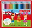 STABILO color, coloured pencil, metal box with 24 colours
