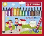 STABILO Trio Scribbi triangular fibre-tip pen with spring-loaded tip cardboard wallet of 14 colours
