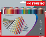 STABILOaquacolor, aquarellable coloured pencil, cardboard wallet of 36 colours