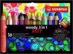 STABILO woody 3 in 1 wallet of 10 colours with sharpener - ARTY version