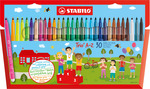 STABILO Trio A-Z fibre-tip pen with triangular grip zone cardboard wallet of 25 colours plus 5 ne