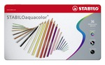 STABILOaquacolor, aquarellable coloured pencil, metal box of 36 colours