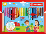 STABILO Cappi fibre-tip pen with cap-ring cardboard wallet of 18 colours