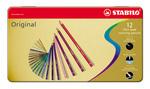 STABILO Original thin lead coloured pencil metal box of 12 colours