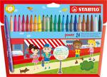 STABILO power fibre-tip pen cardboard wallet of 24 colours