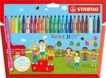 STABILO Trio A-Z fibre-tip pen with triangular grip zone cardboard wallet of 20 colours plus 4 neon