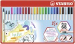 STABILO Pen 68 brush metal wallet of 25