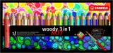 STABILO woody 3 in 1 wallet of 18 colours with sharpener - ARTY version