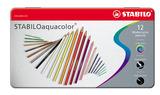 STABILOaquacolor, aquarellable coloured pencil, metal box of 12 colours