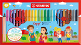 STABILO Cappi fibre-tip pen with cap-ring cardboard wallet of 24 colours