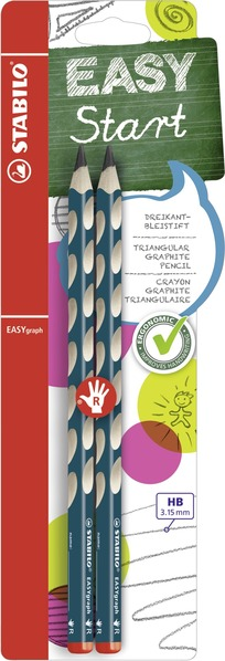 STABILO EASYgraph ergonomic pencil right handed - blister of 2 petrol picture
