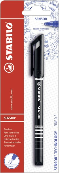 STABILO SENSOR fineliner with cushioned tip blister single - black picture
