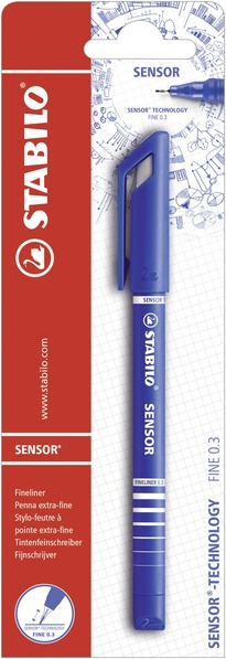 STABILO SENSOR fineliner with cushioned tip blister single - blue picture