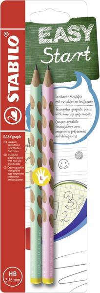 STABILO EASYgraph pastel edition - ergonomic pencil left handed - blister of 2 - green and pink picture