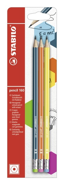STABILO pencil 160 hexagonal pencil HB blistercard of 3 pencils with eraser - petrol, orange, yellow picture