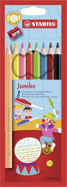 STABILO Jumbo FSC-certified coloured pencil cardboard wallet of 8 colours with sharpener picture