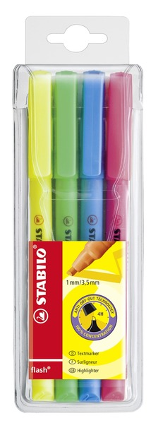 STABILO flash highlighter - wallet of 4 colours picture