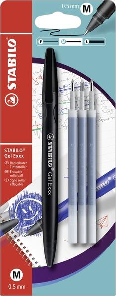 STABILO Gel Exxx erasable - blistercard black + 3pcs refills picture