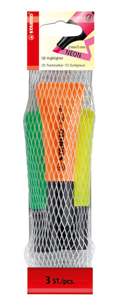 STABILO NEON highlighter - net of 3 colours (orange, green, yellow) picture