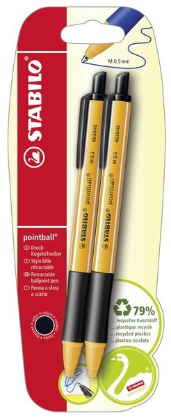 STABILO pointball ballpoint pen black - blister of 2 picture
