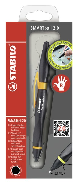 STABILO SMARTball 2.0 ergonomic ballpoint pen right handed - black/orange, black ink picture