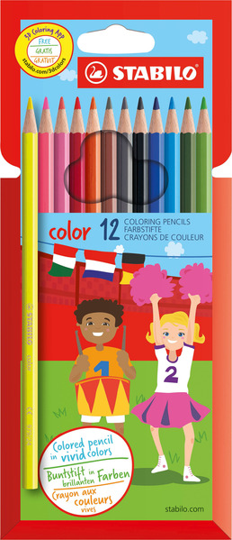 STABILO color, coloured pencil, cardboard wallet of 12 colours including 2 fluorescent colours picture