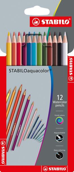 STABILOaquacolor, aquarellable coloured pencil, wallet of 12 colours picture