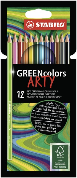 STABILO GREENcolors FSC-certified coloured pencil cardboard wallet of 12 colours - ARTY version picture