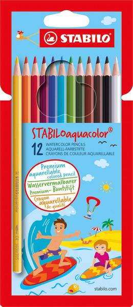 STABILOaquacolor, aquarellable coloured pencil, cardboard wallet of 12 colours picture