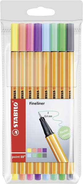 STABILO point 88 fineliner - wallet of 8 pastel colours picture