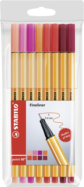 STABILO point 88 fineliner - wallet of 8 shades of red picture